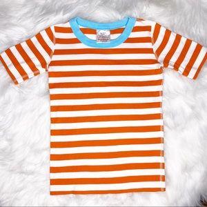 Hanna Andersson orange striped pajama top 140